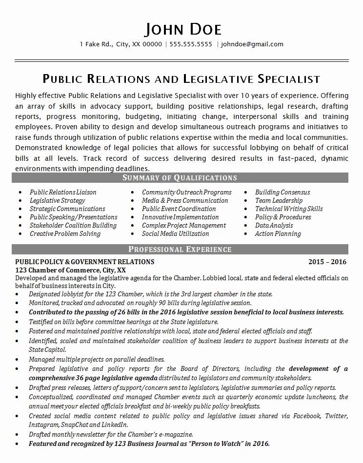 Public Relations Resume Example Political Legislative