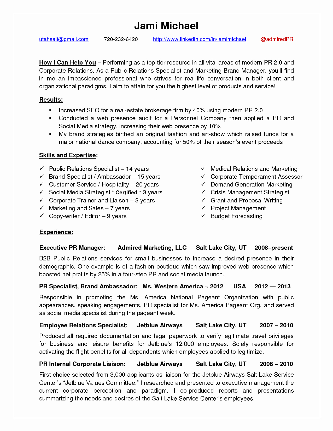 Public Relations Resume Example Public Relations