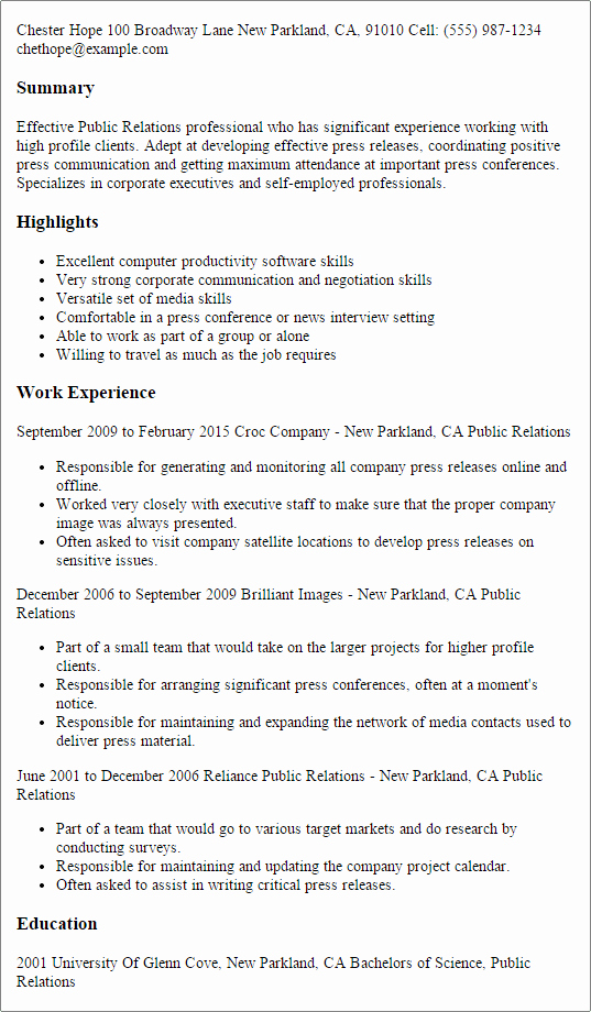Public Relations Resume Template — Best Design & Tips