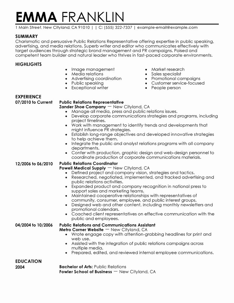 Public Relations Resume Template O