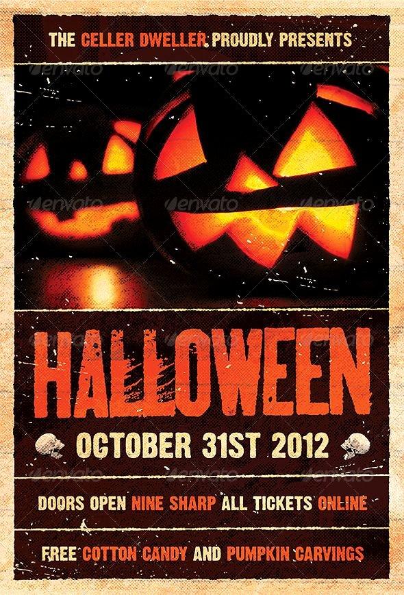 Pumpkin Head Halloween Flyer Template