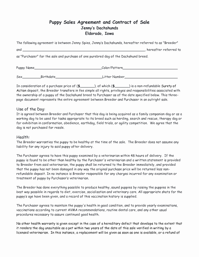 Puppy Sales Contract form Bill Sale East