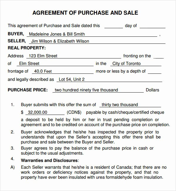 Purchase and Sale Agreement 7 Free Pdf Download