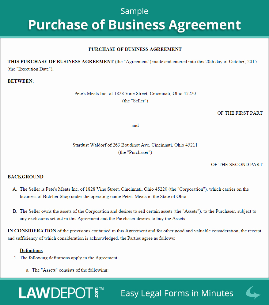 Purchase Of Business Agreement Template Us