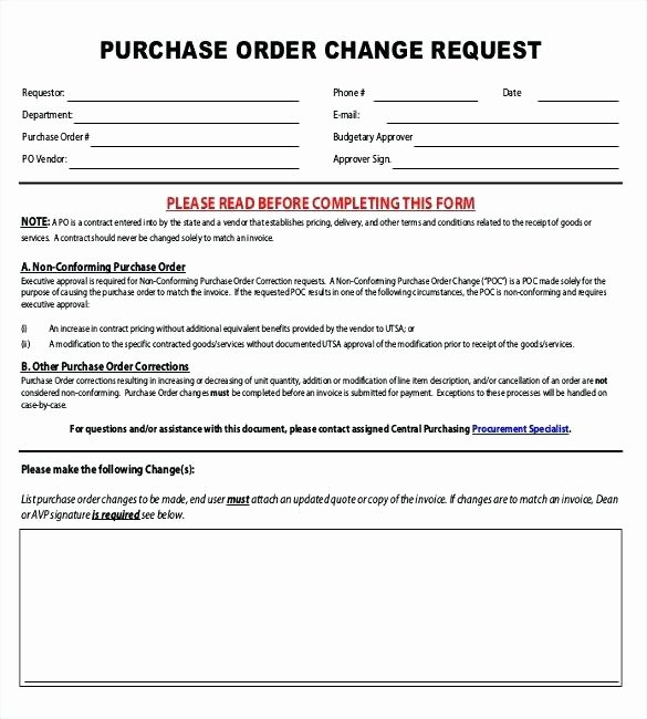 Purchase order Change Request form Po Copy format Templa