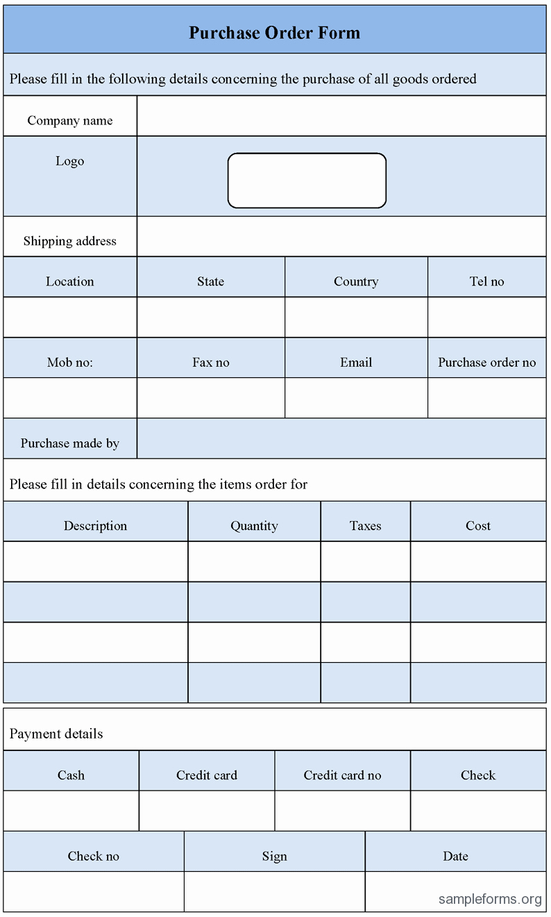 Purchase order form Template Sample forms