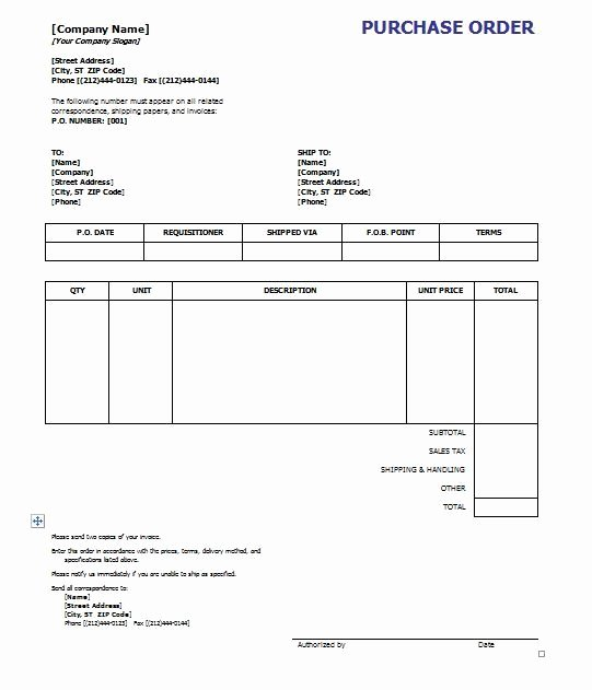 Purchase order Template 8 Free Excel Word Template
