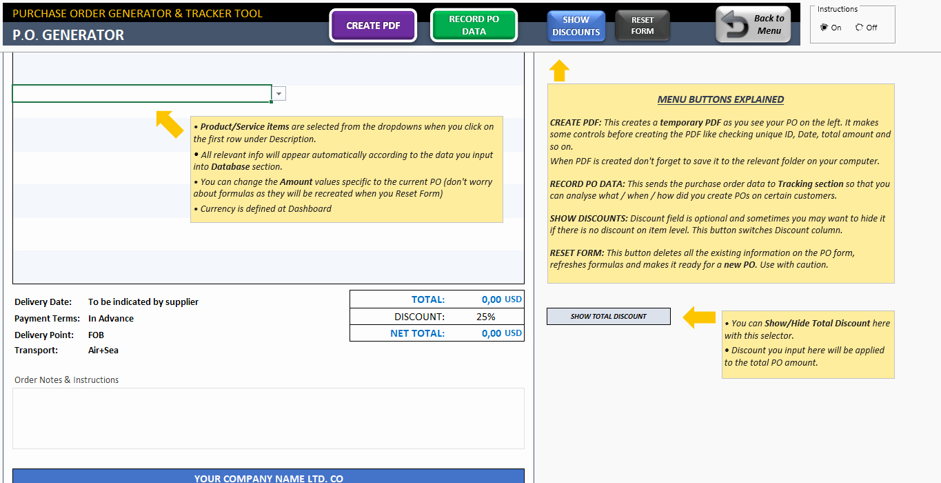 Purchase order Template Excel Po Generator & Tracker tool