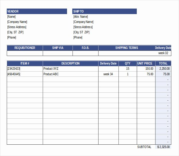 Purchase order Template Free Templates