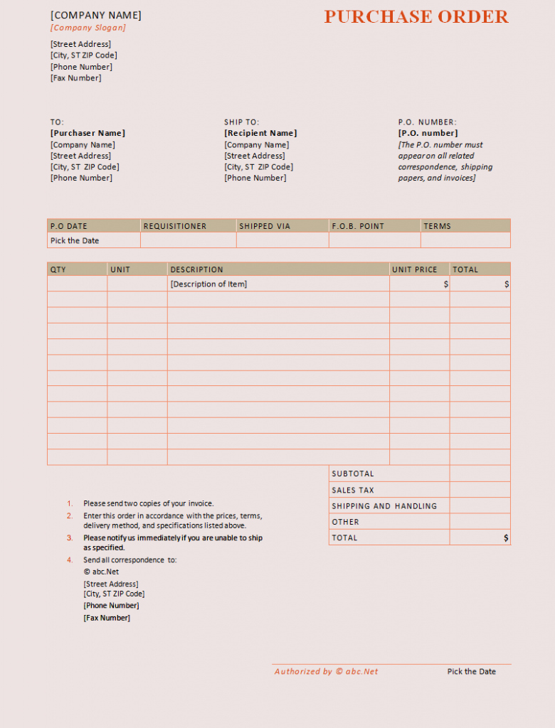 Purchase order Template Word Templates Trakore Document