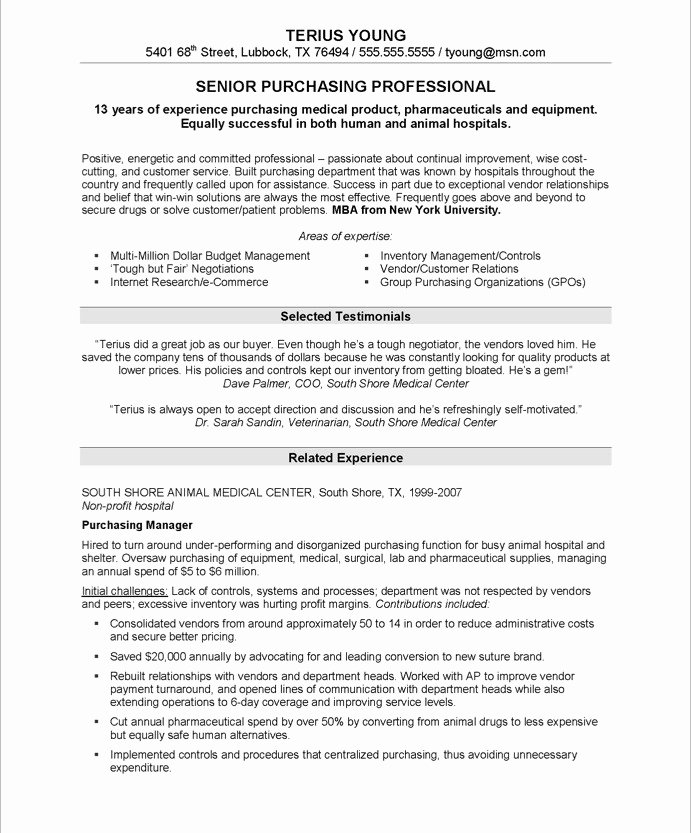Purchasing Manager Free Resume Samples