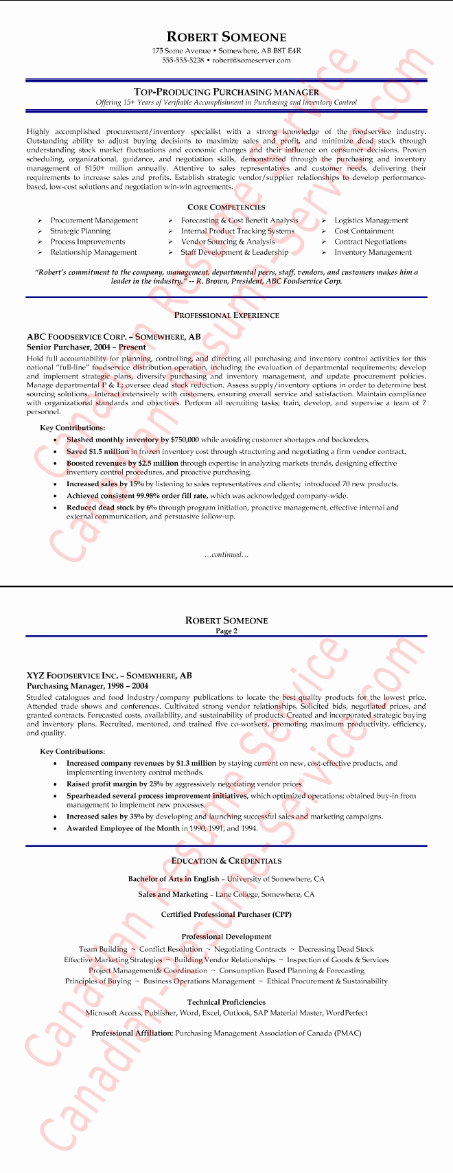 Purchasing Manager Resume Example Procurement Executive