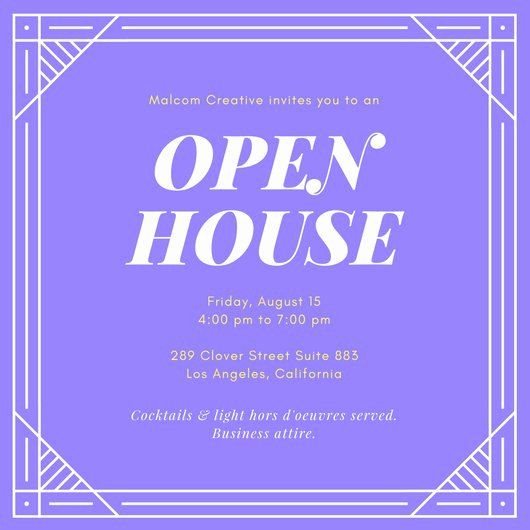 Purple and Yellow Open House Invitation Templates by Canva