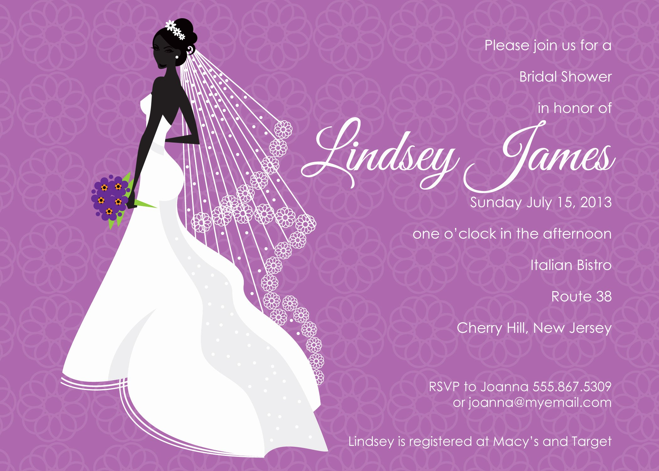 Purple Bridal Shower Invitations Template