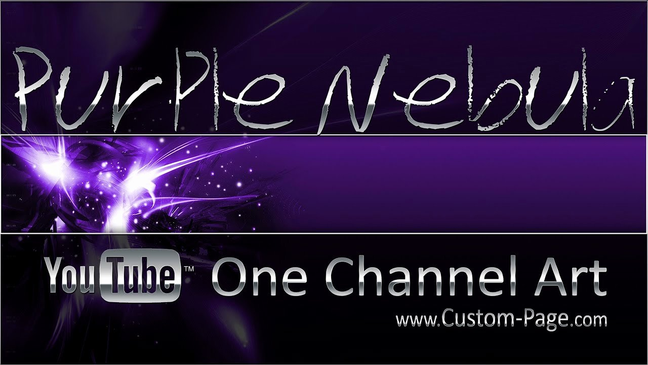 Purple Nebula Channel Art Template Shop Psd