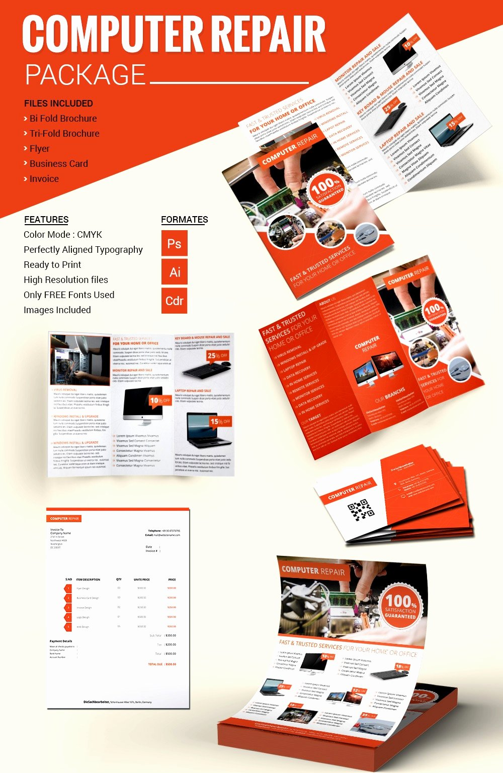 Puter Repair Flyer Template Free Psd Ai format Downl