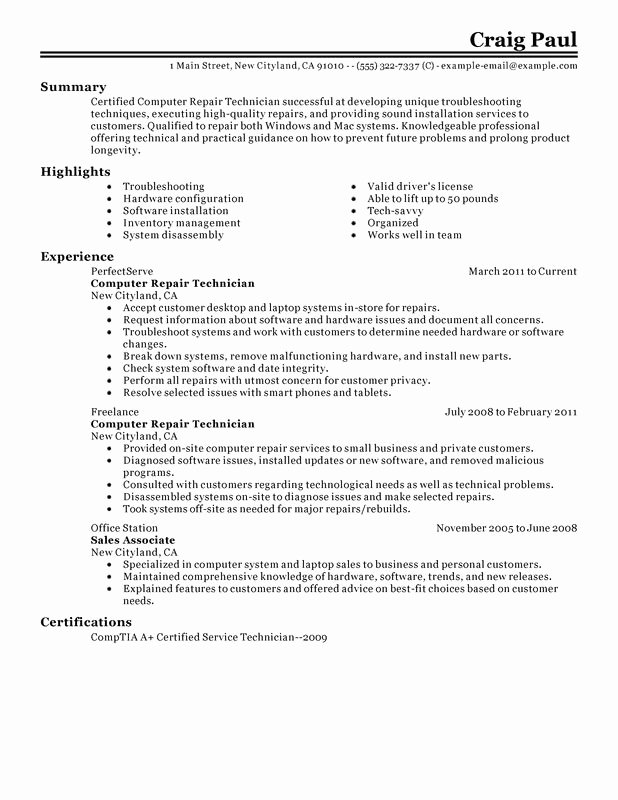 Puter Repair Technician Resume Examples Created by