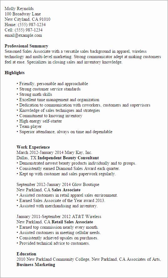 Puter Sales associate Resume