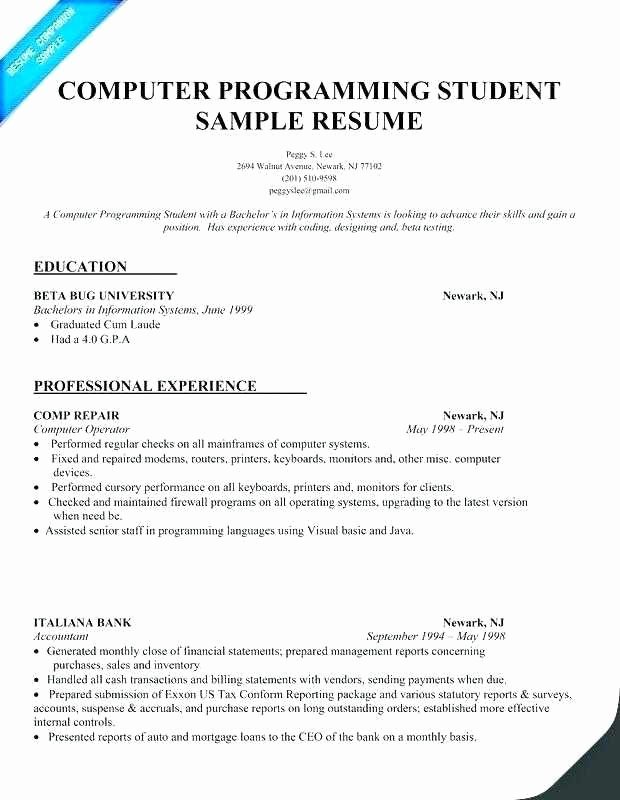 Puter Science Entry Level Resume Best Puter