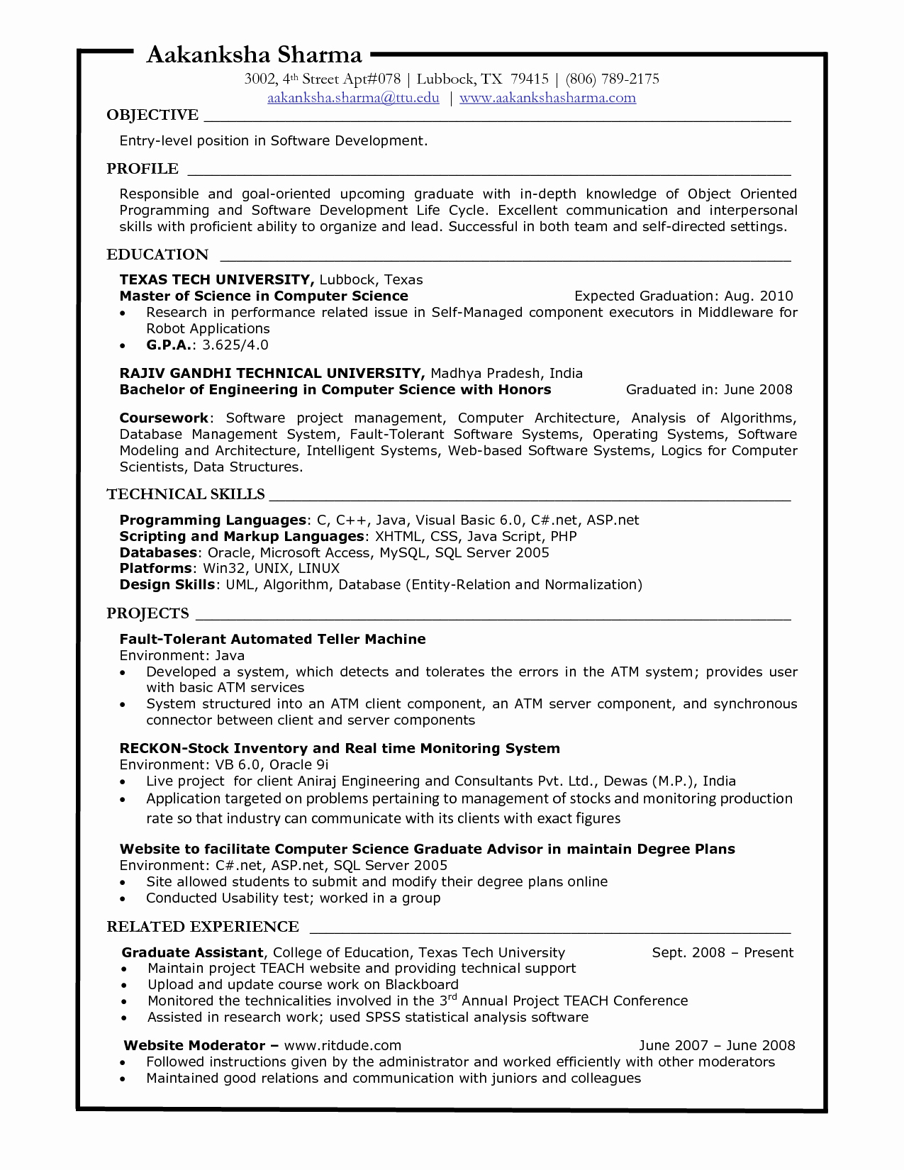 Puter Science Entry Level Resume Resume Ideas