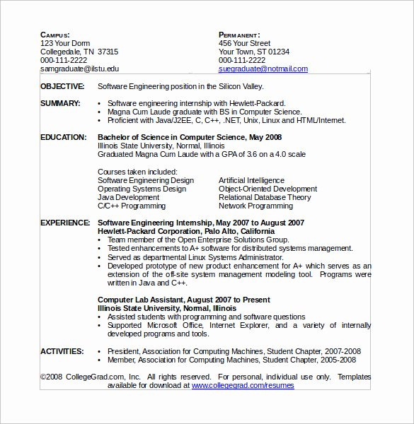 Puter Science Resume 11 Download Free Documents In