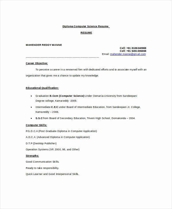 Puter Science Resume Example 9 Free Word Pdf