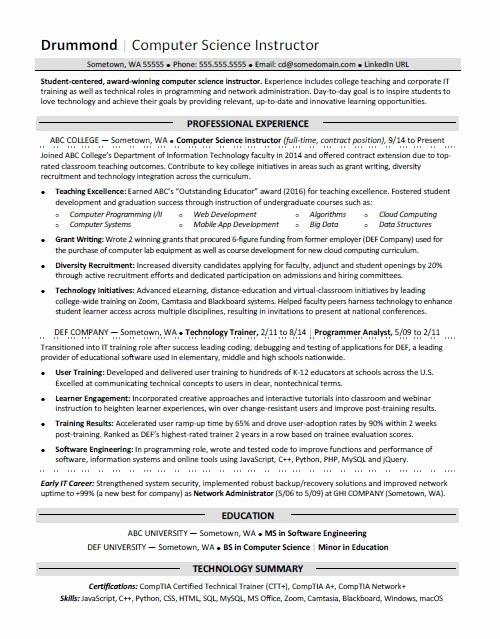 Puter Science Resume Sample