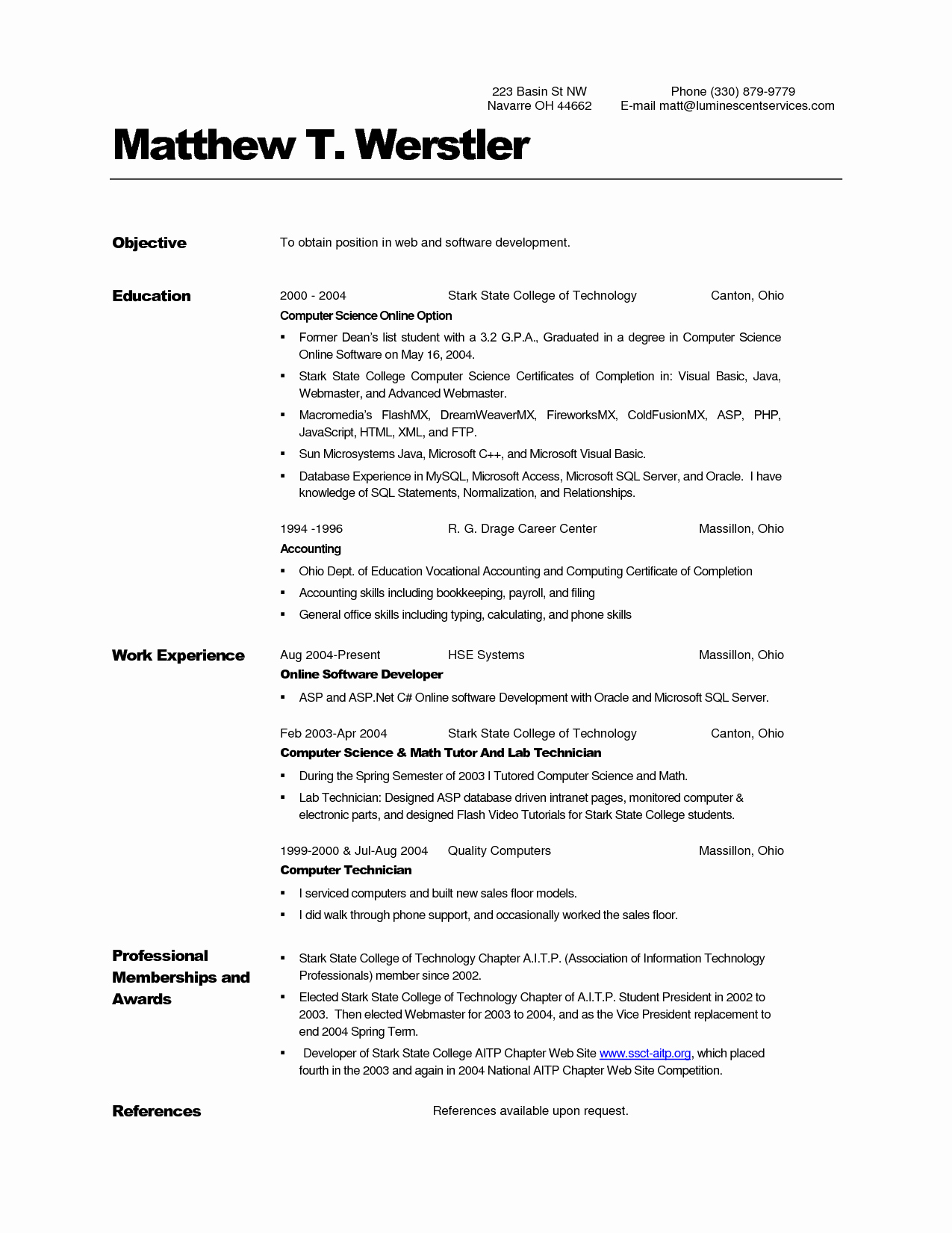 Puter Science Resume Templates Samplebusinessresume