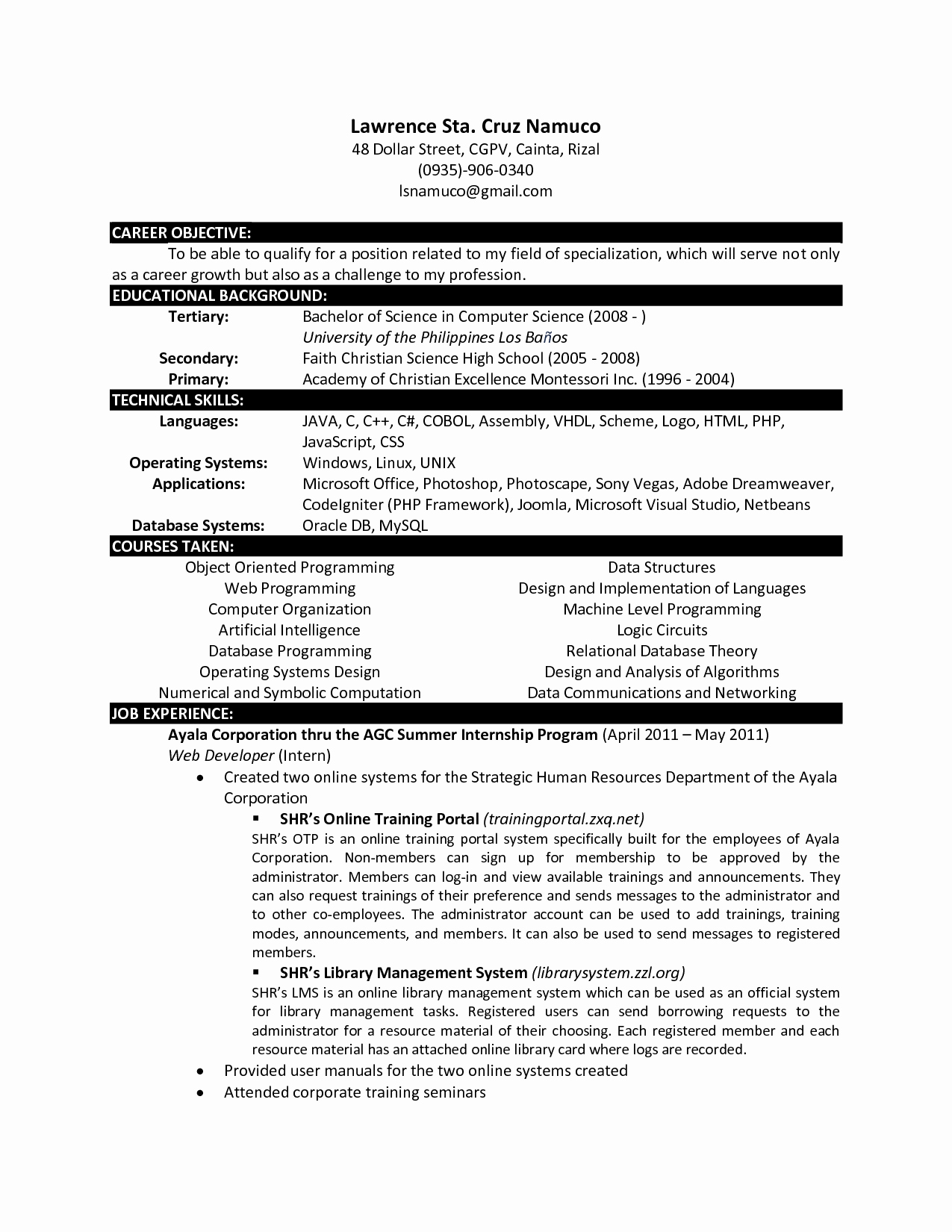 Puter Science Resume Templates
