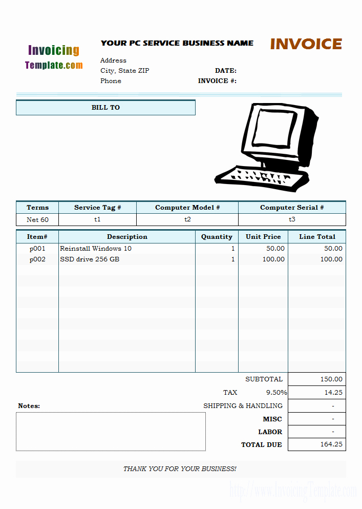 Puter Service Invoice Template