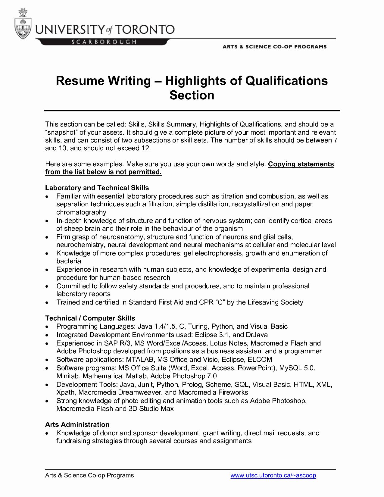 Puter Skills Qualifications Resume