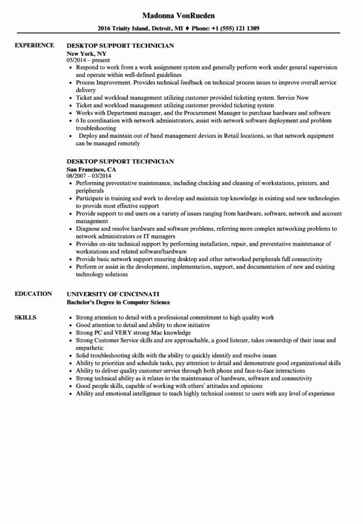 Puter Support Technician Resume