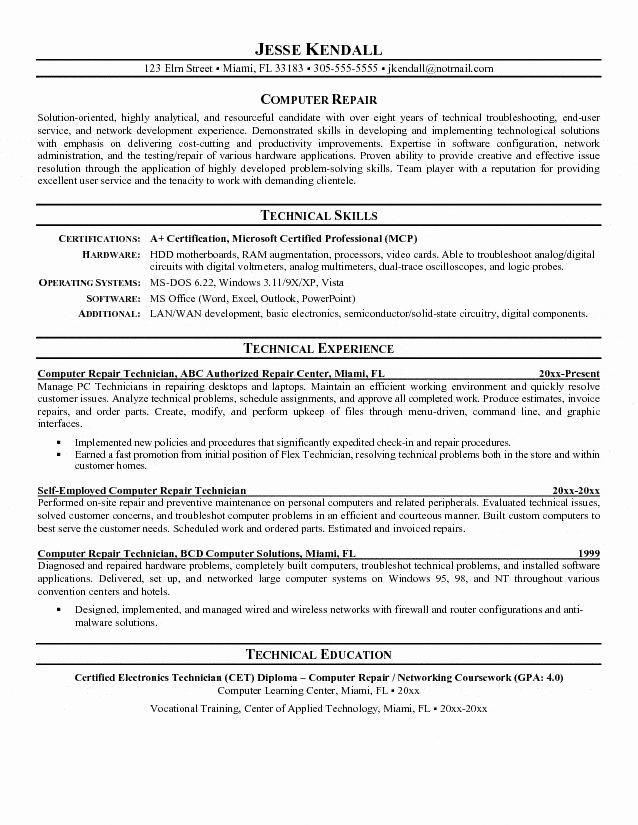 Puter Technician Resume Sample