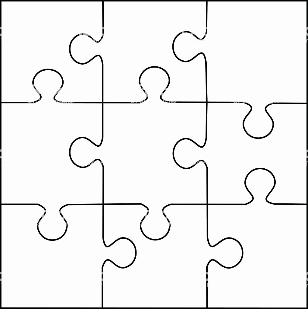 Puzzle Template 9 Pieces Vector Stock Vector Art