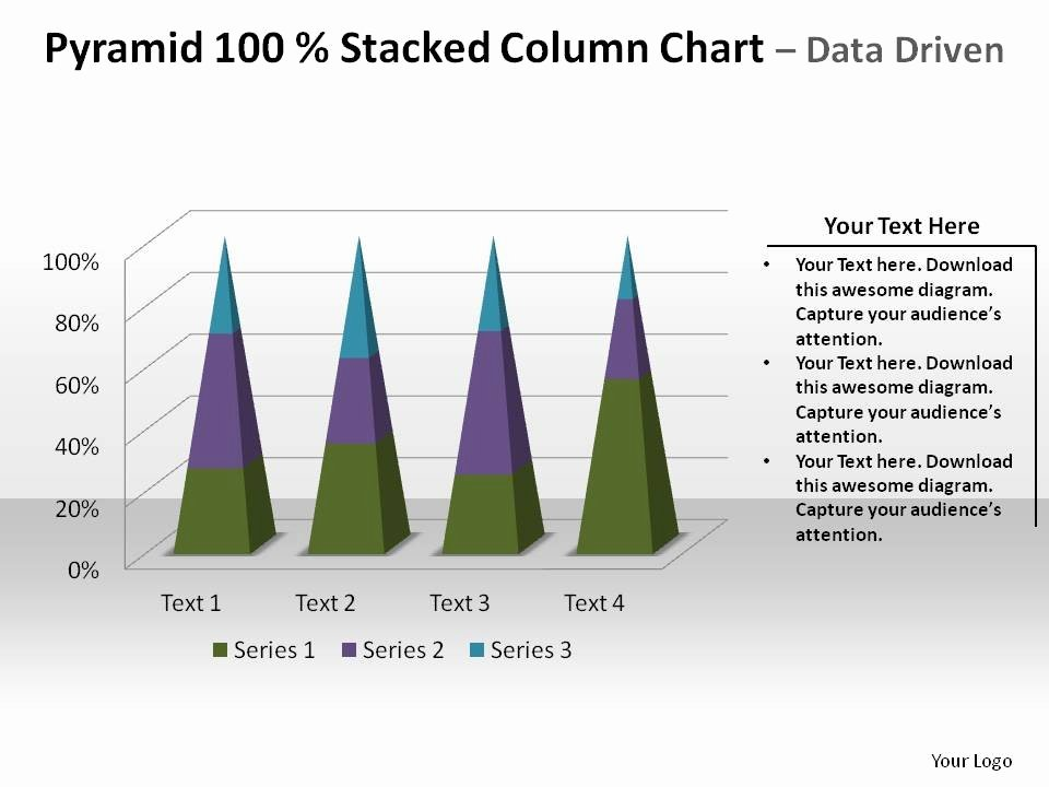 Pyramid 100 Percent Stacked Column Chart Data Driven