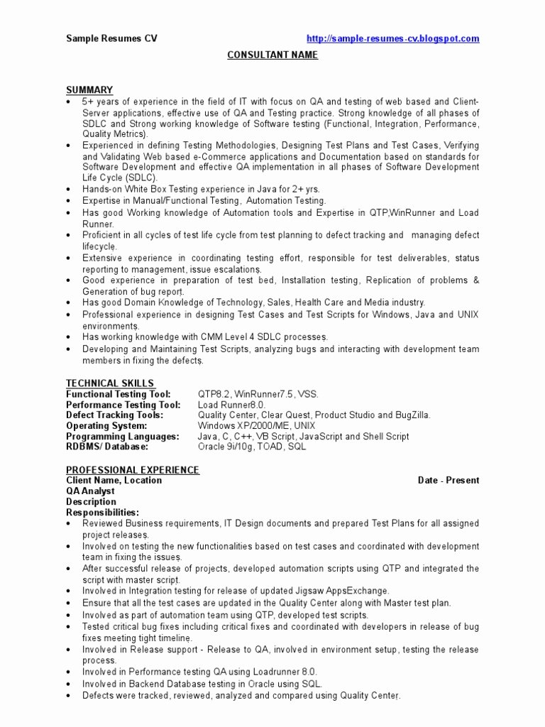 Qa Sample Resume Cv software Bug