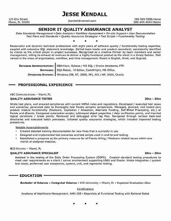 Qa Sample Resume
