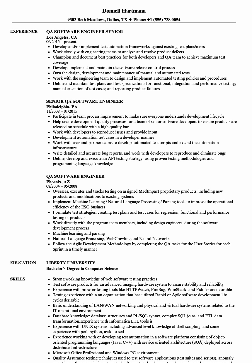 Qa software Engineer Resume Samples
