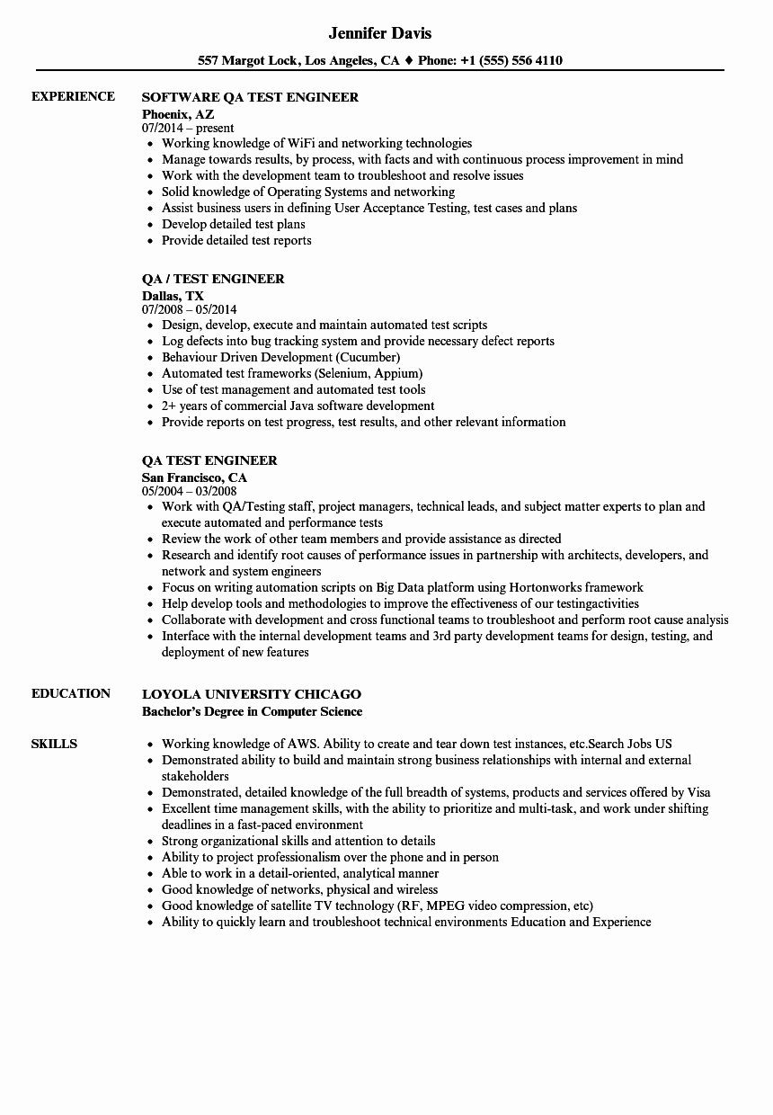 Qa Test Engineer Resume Samples