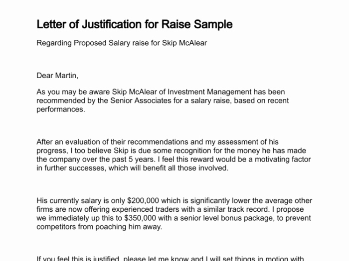Qualified Letter Justification for Raise Salary