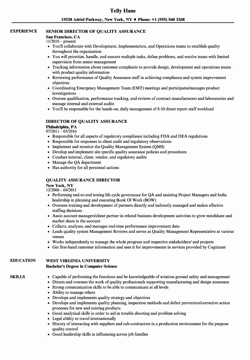 Quality assurance Director Resume Samples