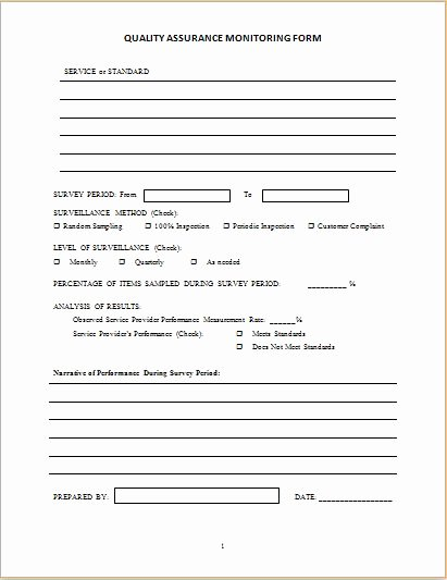 Quality assurance Monitoring form Template