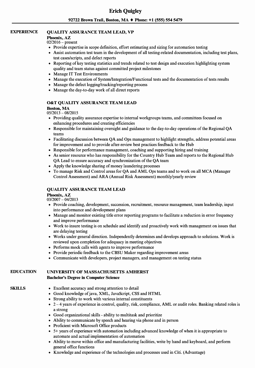 Quality assurance Team Lead Resume Samples