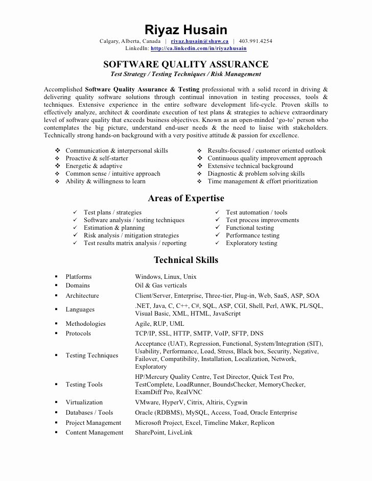 Quality assurance Tester Resume Best Resume Gallery