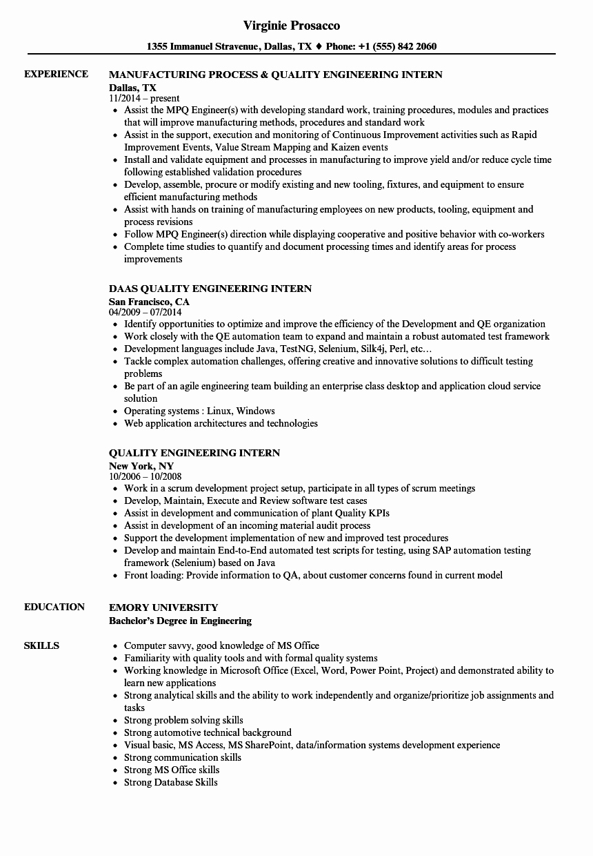 Quality Engineering Intern Resume Samples