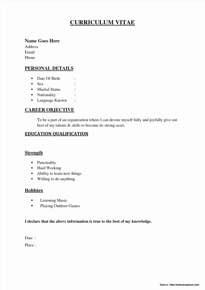 Quick and Easy Resume Template Resume Resume Examples