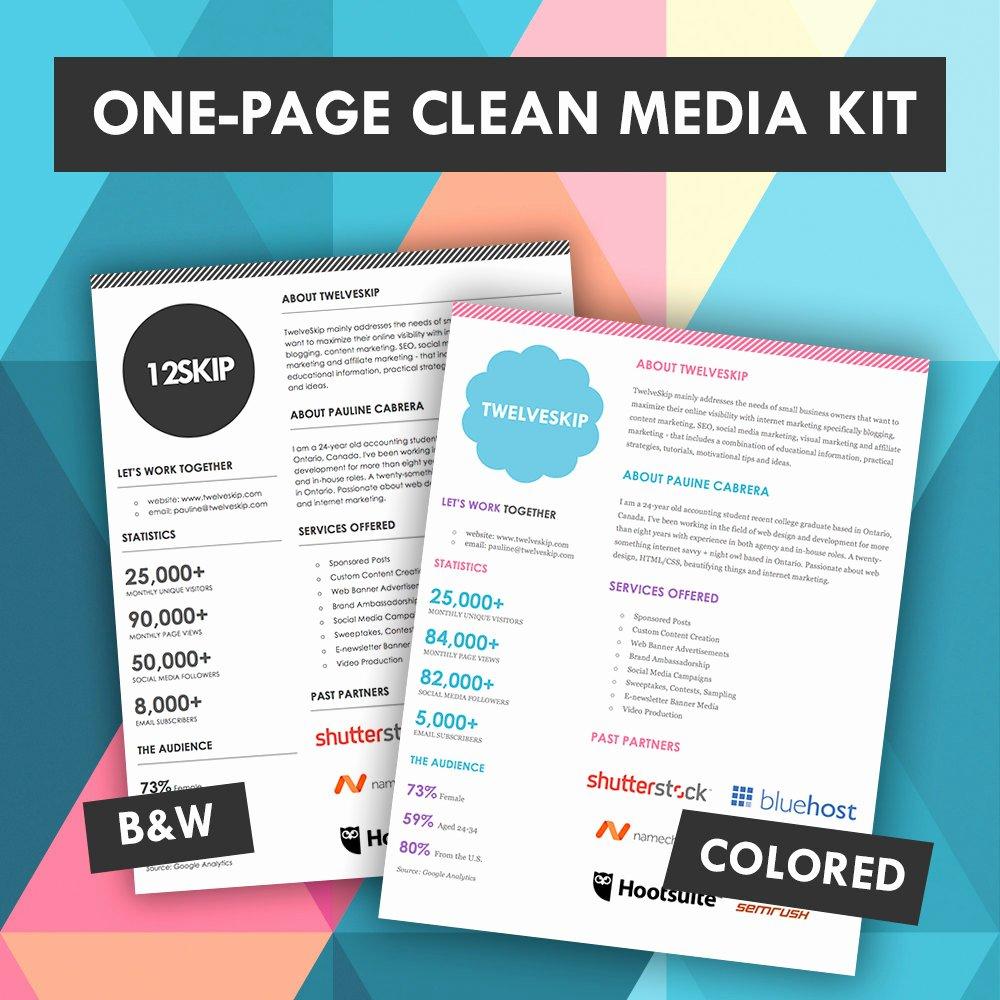 Quick E Page Media Kit Template Press Kit Media Kit