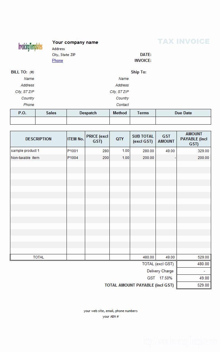 Quickbooks Invoice Template Excel
