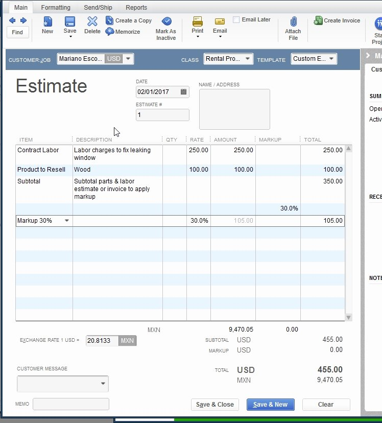 Quickbooks Quote Template