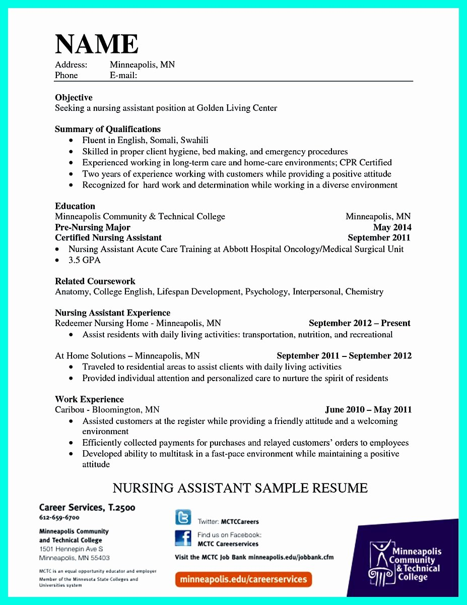 """""""mention Great and Convincing Skills"""" Said Cna Resume Sample"""